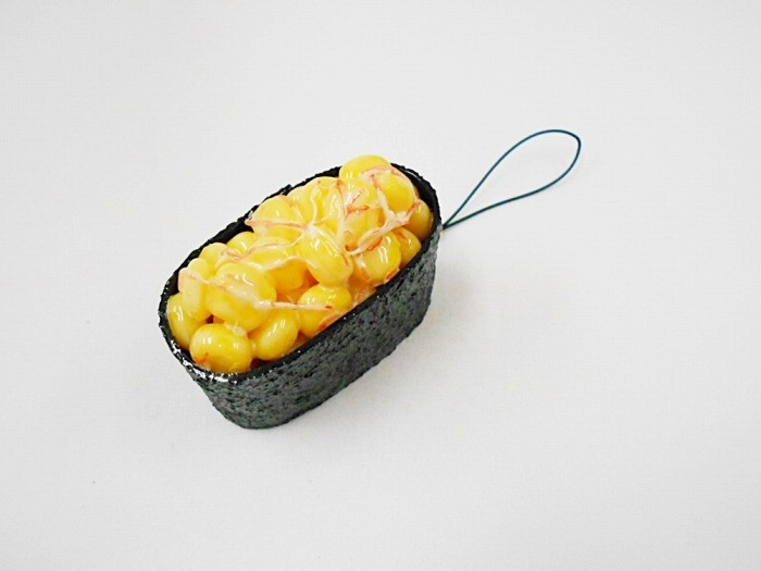 Corn, Mayonnaise & Crab Meat Battleship Roll Sushi Cell Phone Charm/Zipper Pull