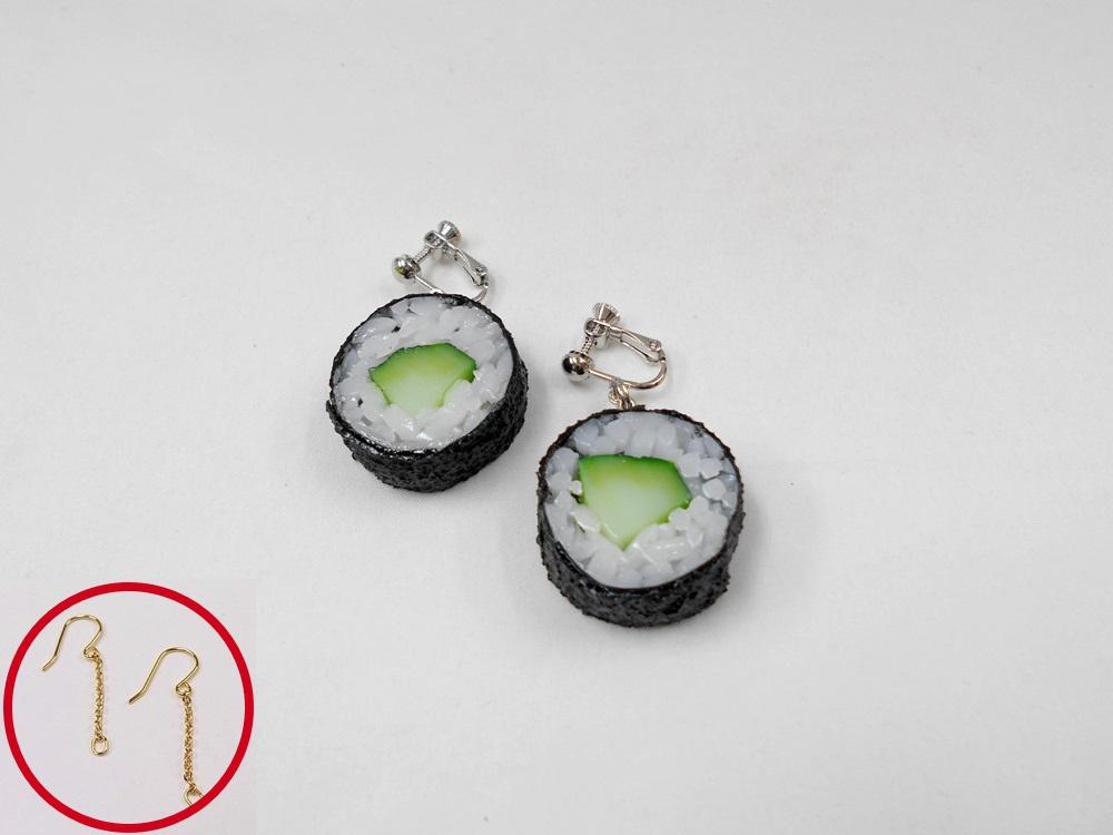 Cucumber Roll Sushi (round) Pierced Earrings