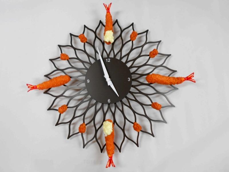 Deep Fried Shrimp & Kara-age (Boneless Fried Chicken) Wall Clock
