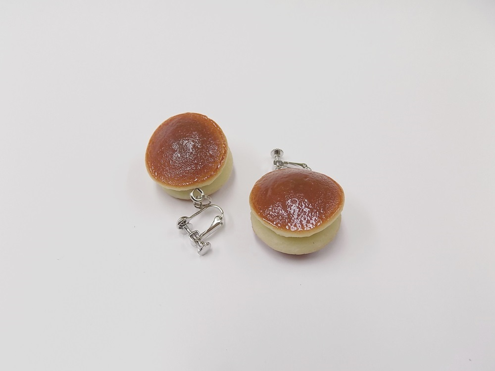 Dorayaki (Red-Bean Pancake) Clip-On Earrings