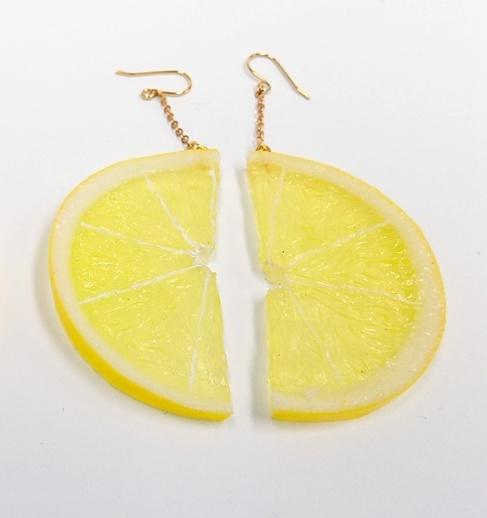 Lemon Slice (half-size) Pierced Earrings