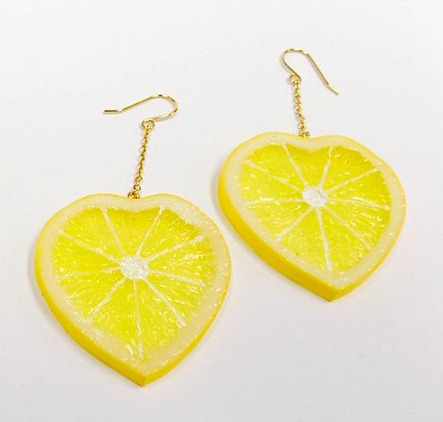 Lemon Slice (Heart-Shaped) Pierced Earrings
