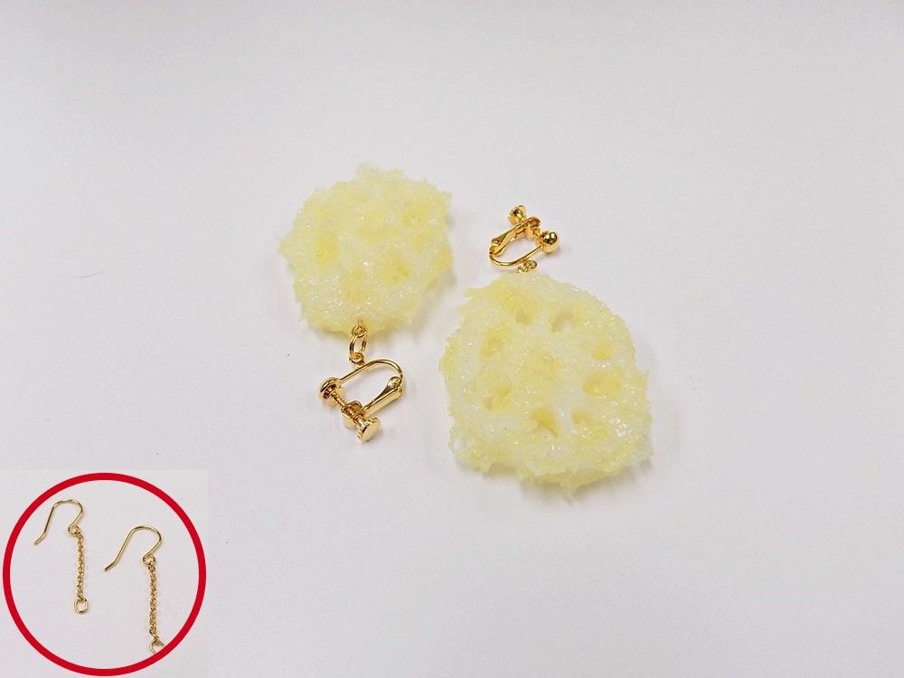 Lotus Root Tempura (small) Pierced Earrings
