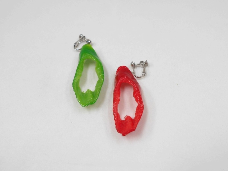 Red & Green Chili Pepper (cut) Clip-On Earrings