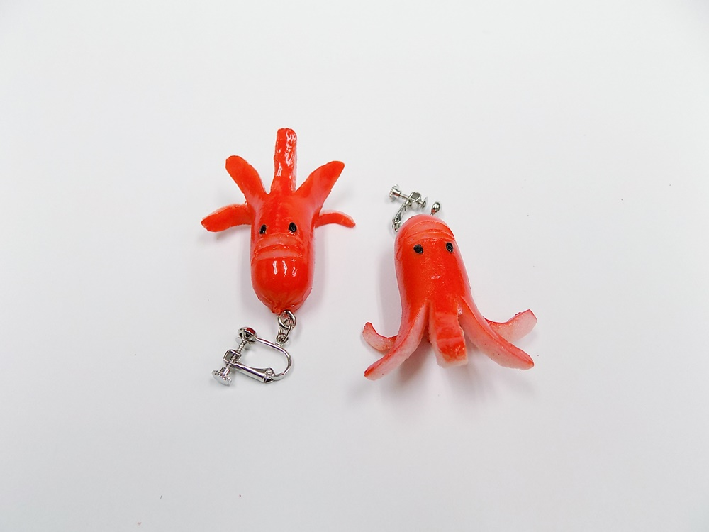 Sausage (Mouthless Octopus-Shaped) Clip-On Earrings