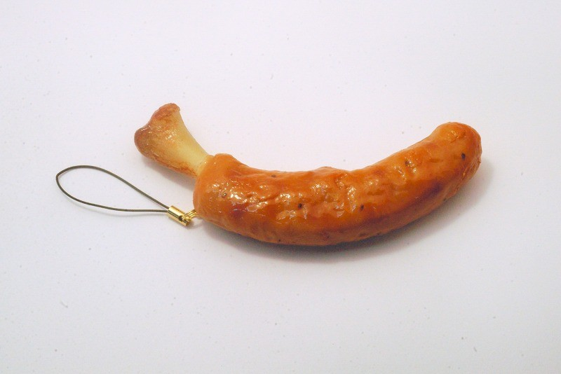 Sausage with Bone Cell Phone Charm/Zipper Pull