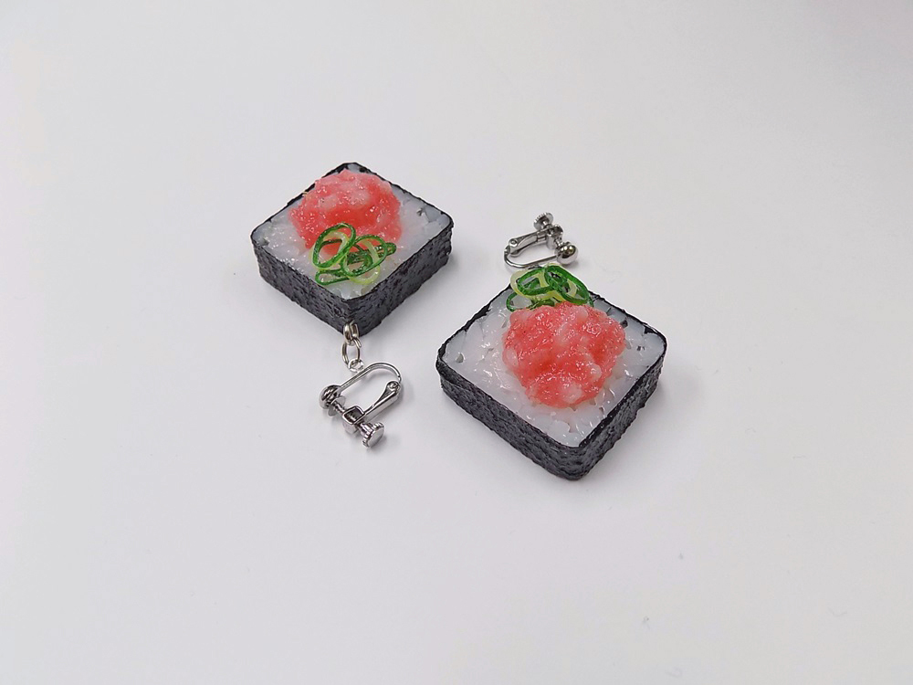 Scallion & Tuna Roll Sushi Clip-On Earrings