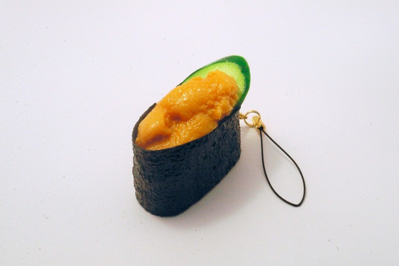 Sea Urchin Battleship Roll Sushi Cell Phone Charm/Zipper Pull
