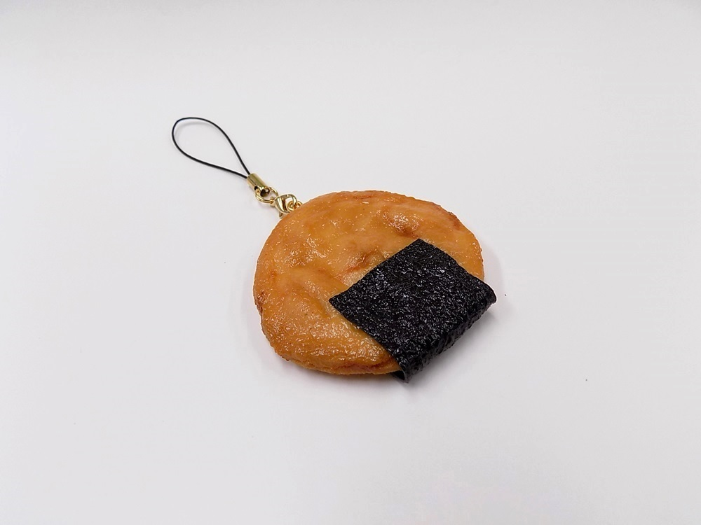 Senbei (Japanese Cracker) with Seaweed (large) Cell Phone Charm/Zipper Pull