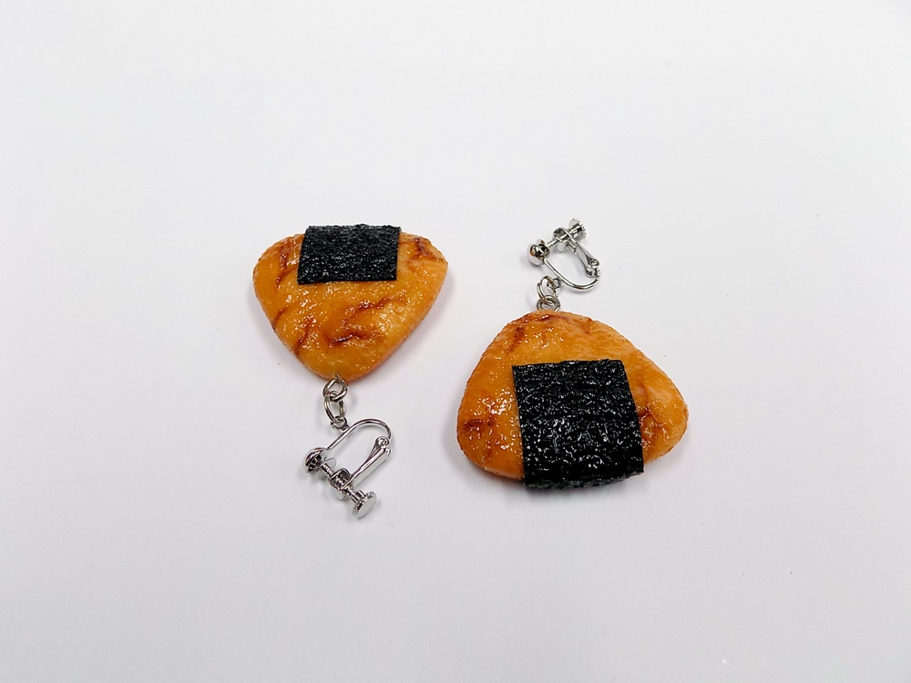 Senbei (Japanese Cracker) with Seaweed (small) Clip-On Earrings