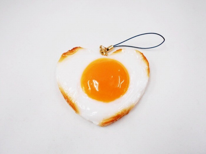 Sunny-Side Up Egg (Heart) Cell Phone Charm/Zipper Pull