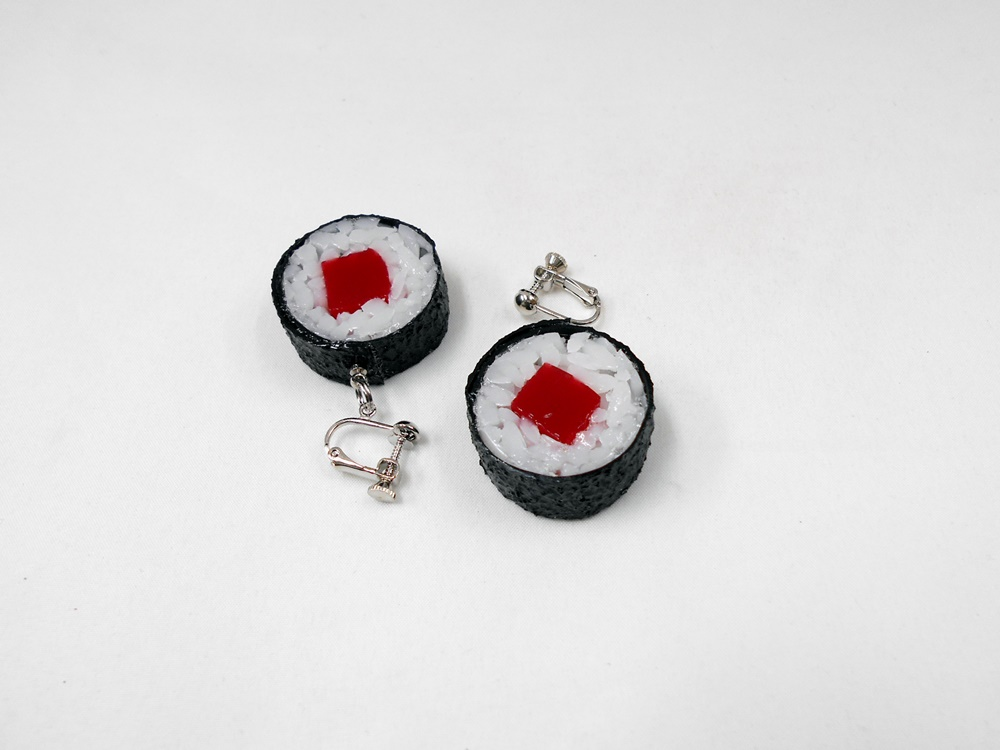 Tuna Roll Sushi (round) Clip-On Earrings