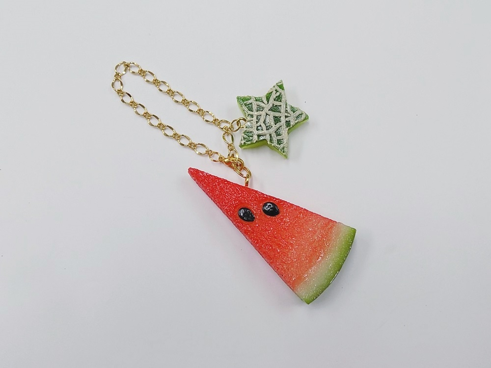 Watermelon (small) Ver. 2 & Melon (Star-Shaped) (small) Bag Charm