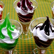 Assorted Syrup Topping Sundaes Replica - Fake Food Japan