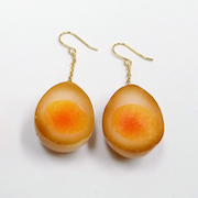 Boiled Quail Egg in Soy Sauce Pierced Earrings - Fake Food Japan