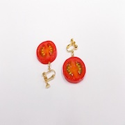 Cherry Tomato (half-size) Clip-On Earrings - Fake Food Japan