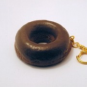 Chocolate Frosted Chocolate Doughnut Keychain - Fake Food Japan