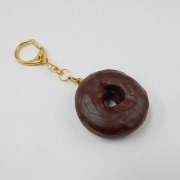 Chocolate Frosted Chocolate Doughnut (small) Keychain - Fake Food Japan
