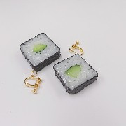 Cucumber Roll Sushi Clip-On Earrings - Fake Food Japan