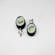 Cucumber Roll Sushi (round) Clip-On Earrings - Fake Food Japan