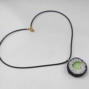 Cucumber Roll Sushi (round) Necklace - Fake Food Japan