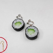 Cucumber Roll Sushi (round) Pierced Earrings - Fake Food Japan