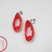 Cut Red Chili Pepper Pierced Earrings - Fake Food Japan