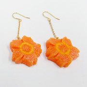 Flower-Shaped Carrot Ver. 2 Pierced Earrings - Fake Food Japan
