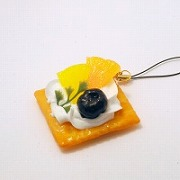 Fruits Topped Cookie Cell Phone Charm/Zipper Pull - Fake Food Japan