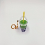 Green Tea (Matcha) Tapioca Drink (mini) Keychain - Fake Food Japan