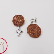 Hamburger Patty (small) Pierced Earrings - Fake Food Japan