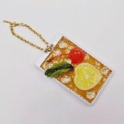 Iced Lemon Tea (Heart-Shaped Lemon Slice) Pass Case with Charm Bracelet - Fake Food Japan