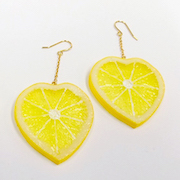 Lemon Slice (Heart-Shaped) Pierced Earrings - Fake Food Japan