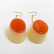 Pudding Pierced Earrings - Fake Food Japan
