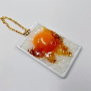 Raw Egg & Rice Pass Case with Charm Bracelet - Fake Food Japan