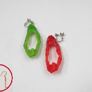 Red & Green Chili Pepper (cut) Pierced Earrings - Fake Food Japan