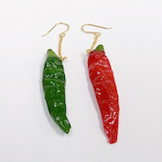 Red & Green Chili Pepper (mini) Pierced Earrings - Fake Food Japan