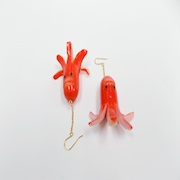 Sausage (Mouthless Octopus-Shaped) Pierced Earrings - Fake Food Japan