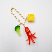 Sausage (Octopus-Shaped), Fried Egg (mini) & Broccoli (small) Bag Charm - Fake Food Japan