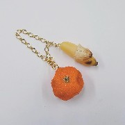 Spoiled Orange & Whole Peeled Ripened Banana Bag Charm - Fake Food Japan