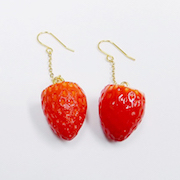 Strawberry Pierced Earrings - Fake Food Japan