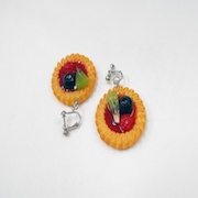 Strawberry Sauce-Filled Kiwi, Raspberry & Blueberry Cookie Clip-On Earrings - Fake Food Japan