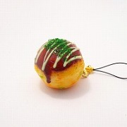 Takoyaki (Fried Octopus Ball) with Mayonnaise  Cell Phone Charm/Zipper Pull - Fake Food Japan