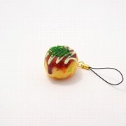 Takoyaki (Fried Octopus Ball) with Mayonnaise (small) Cell Phone Charm/Zipper Pull - Fake Food Japan