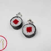 Tuna Roll Sushi (round) Pierced Earrings - Fake Food Japan