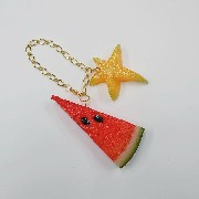 Watermelon (small) Ver. 2 & Star Fruit (small) Bag Charm - Fake Food Japan