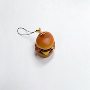 Bacon & Cheese Burger Cell Phone Charm/Zipper Pull - Fake Food Japan