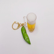 Beer (mini) & Green Soybean Keychain - Fake Food Japan
