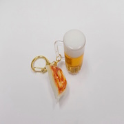 Beer (mini) & Gyoza Dumpling (Japanese Pot Sticker) (mini) Keychain - Fake Food Japan