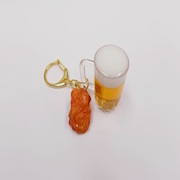 Beer (mini) & Kara-age (Boneless Fried Chicken) (small) Keychain - Fake Food Japan